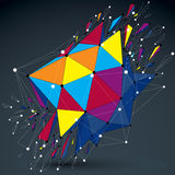 3d vector low poly object with connected lines and dots, colorfu Royalty Free Stock Images