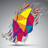 3d vector low poly object with connected lines and dots, colorfu Royalty Free Stock Image