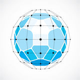 3d vector low poly spherical object with black connected lines a. Nd dots, geometric blue wireframe shape. Perspective facet ball created with squares and Stock Images
