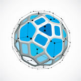 3d vector low poly spherical object with black connected lines a. Nd dots, geometric blue wireframe shape. Perspective facet ball created with squares and Stock Photography