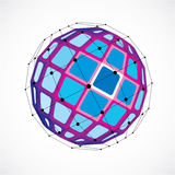 3d vector low poly spherical object with black connected lines a. Nd dots, geometric blue wireframe shape. Perspective facet orb created with squares Stock Image