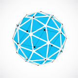 3d vector low poly spherical object with black connected lines a. Nd dots, geometric blue wireframe shape. Perspective orb created with triangular facets Stock Photos