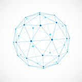 3d vector low poly spherical object with black connected lines a. Nd dots, geometric blue wireframe shape. Perspective orb created with triangular facets Stock Photography
