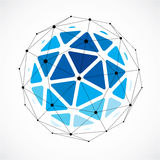 3d vector low poly spherical object with black connected lines a. Nd dots, geometric blue wireframe shape. Perspective orb created with triangular facets Royalty Free Stock Images