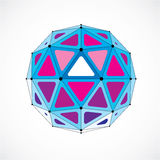 3d vector low poly spherical object with black connected lines a. Nd dots, geometric blue wireframe shape. Perspective orb created with triangular facets Royalty Free Stock Image
