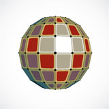 3d vector low poly spherical object with black connected lines a. Nd dots, geometric colorful wireframe shape. Perspective facet orb created with squares Stock Images