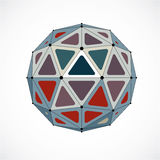 3d vector low poly spherical object with black connected lines a Stock Photos