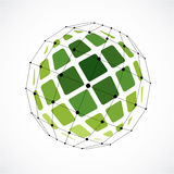 3d vector low poly spherical object with black connected lines a. Nd dots, geometric green wireframe shape. Perspective facet orb created with squares Royalty Free Stock Images