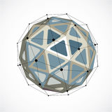 3d vector low poly spherical object with black connected lines a. Nd dots, geometric monochrome wireframe shape. Perspective orb created with triangular facets Stock Image