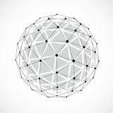3d vector low poly spherical object with black connected lines a. Nd dots, geometric monochrome wireframe shape. Perspective orb created with triangular facets Royalty Free Stock Photo