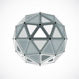 3d vector low poly spherical object with black connected lines a. Nd dots, geometric monochrome wireframe shape. Perspective orb created with triangular facets Stock Photos