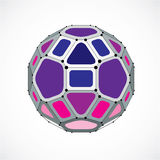 3d vector low poly spherical object with black connected lines a. Nd dots, geometric purple wireframe shape. Perspective facet ball created with squares and Royalty Free Stock Photography