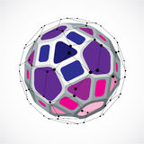 3d vector low poly spherical object with black connected lines a. Nd dots, geometric purple wireframe shape. Perspective facet ball created with squares and Royalty Free Stock Photos
