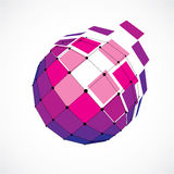 3d vector low poly spherical object with black connected lines a. Nd dots, geometric purple wireframe shape. Perspective facet orb created with squares Royalty Free Stock Photo