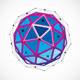 3d vector low poly spherical object with black connected lines a Royalty Free Stock Photos