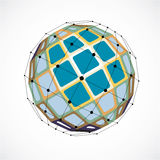 3d vector low poly spherical object with black connected lines a Royalty Free Stock Image