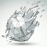 3d vector low poly spherical object with black connected lines a Stock Photo