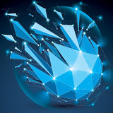 3d vector low poly spherical object with sparkles, white connect. Ed lines and dots, geometric wireframe blue shape with refractions. Radiance perspective Stock Photography