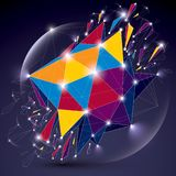 3d vector low poly spherical object with sparkles, white connect. Ed lines and dots, geometric wireframe shape with refractions. Radiance perspective colorful Royalty Free Stock Images