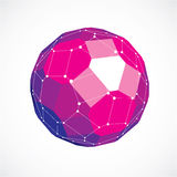 3d vector low poly spherical object with white connected lines a. Nd dots, geometric purple wireframe shape. Perspective facet ball created with squares and Royalty Free Stock Image