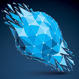 3d vector low poly transform object with connected black and whi. Te lines and dots, blue geometric wireframe shape with fractures. Asymmetric perspective Royalty Free Stock Image