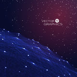 3d vector object in space. 3 d object space with connection lines and glowing particles and stars on horizon. Abstract vector illustration for technical design royalty free illustration
