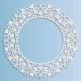 3D Vector paper frame, vignette with ornaments, floral ornament Stock Photography