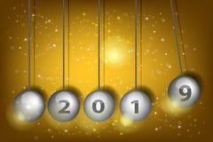 New Year`s Eve 2019. Pendulum balls. Realistic vector illustration. 3D Vector Pendulum - Newton`s Cradle/ New Year`s Eve 2019. Pendulum balls. Realistic vector vector illustration