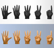 3D vector polygonal counting hand pose set in various style. That you can flip for left or right hand Stock Photo