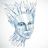 3d vector portrait created with lines mesh. Intelligence allegor Royalty Free Stock Photography