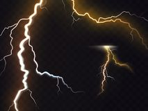3D vector realistic illustration of thunderbolt. Vector illustration of 3d realistic lightning or thunderbolt isolated on night translucent background. Bright Stock Photo