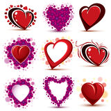 3d vector red and pink stylized hearts collection. Set of art dr Royalty Free Stock Photo