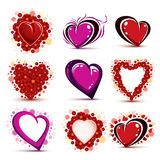 3d vector red and pink stylized hearts collection. Set of art dr. Awn love hearts decorated with beautiful flowers and  on white background Stock Photo