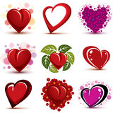 3d vector red and pink stylized hearts collection. Set of art dr Stock Image
