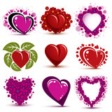 3d vector red and pink stylized hearts collection. Set of art dr. Awn love hearts decorated with green leaves and beautiful flowers Stock Images