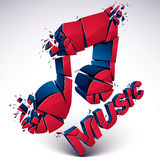 3d vector red shattered musical notes with music word. Art melod. Y transform symbol broken into pieces Royalty Free Stock Photos
