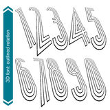 3d vector retro tall font with visual rotation effect, doodle ge. Ometric numbers Royalty Free Stock Photo