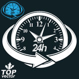 3d vector round 24 hours clock with arrow around. Business graphic perspective timer. Twenty-four hours a day conceptual elegant icon, isolated on dark Stock Image