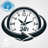3d vector round 24 hours clock with arrow around. Simple version included. All the time idea,   perspective classic black and white symbol. Twenty-four hours a Stock Images