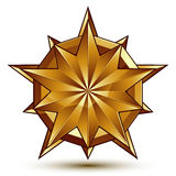 3d vector royal symbol, sophisticated golden star emblem Stock Photo