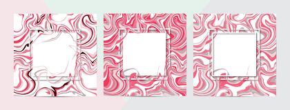 3d vector set of square frames. Paper cut promotion web banner for social media or mobile apps. Sale and discount promo background. 3d vector set of square royalty free illustration