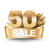 3d vector shiny gold discount 50 percent off. And sale on gold ribbon. Vector illustration for promotion discount sale advertising Stock Images