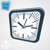 3d vector square wall clock with black dial, simple version incl Stock Images