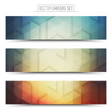 3d Vector Technology Web Banners. Abstract 3d vector digital internet technology web banners set. Business abstract vector. Design vector elements. Vector Stock Photo