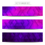 3d Vector Technology Web Banners. Abstract 3d vector digital internet technology web banners set. Business abstract vector. Design vector elements. Vector Stock Images