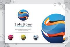 3d vector van het brievens embleem met moderne kleurenstijl, en illustratie van kleurrijke digitale brief S voor technologiebedri stock illustratie