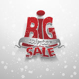 3d vector words: big winter sale. On gray background with snowflakes royalty free illustration