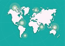 World Map Illustration. 2D Vector World Map drawing Royalty Free Stock Photography