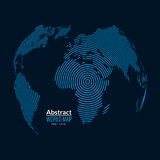 3d vector world map globe planet, lines, global radial halftone concept. Stock Photography