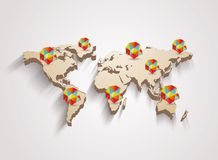 3d vector world map with info graphics Royalty Free Stock Image